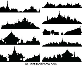 Set of editable vector silhouettes of Buddhist temple complexes