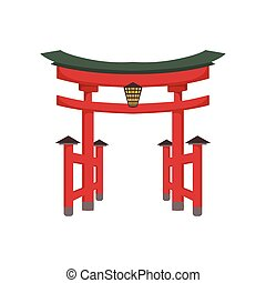 Temple Gate Japanese Culture Symbol. Isolated Object...