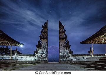 Temple gates at Lempuyang Luhur temple in Bali, Indonesia. ...
