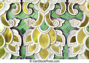 temple glass decorative detail, Thailand