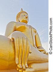 temple., grande buddha, tailandia