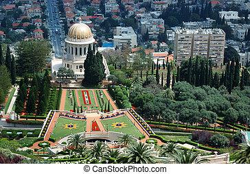 temple, haïfa, israël, bahai, jardins