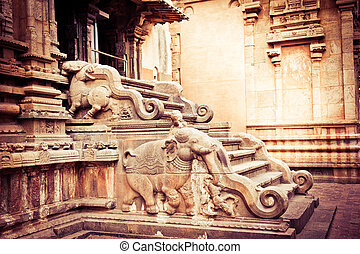 temple., hindu, indien, brihadishvara, süden