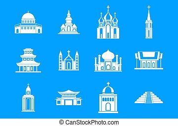 Temple icon blue set