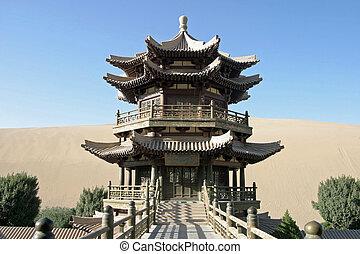 Temple in Crescent lake, Mingsha Shan, Dunhuang, China