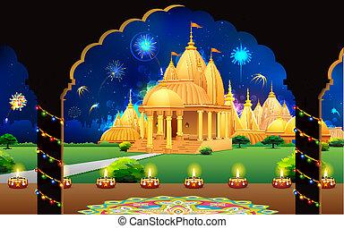 Temple in Diwali Night