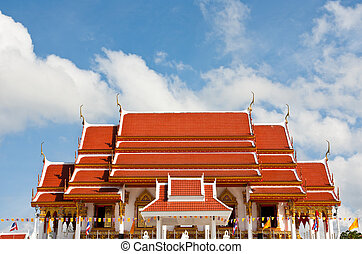 Temple in Phang-nga , South of Thailand with white cloud blue sky