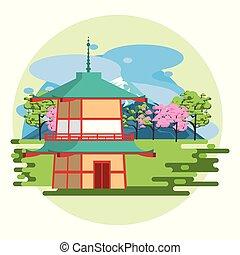 temple, japonaise, nature