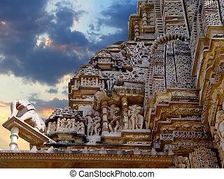 temple., khajuraho, inde