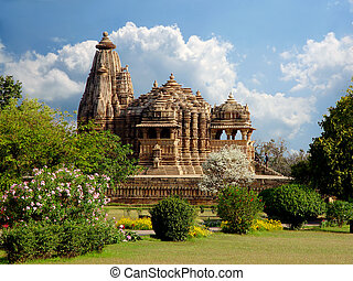 temple., khajuraho, indien