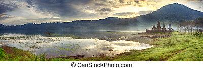 Tamblingan lake. Bali - Temple Komala Tirta at sunrise time....
