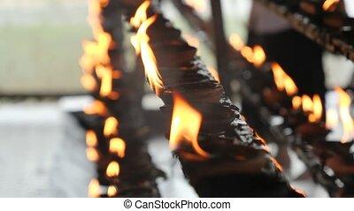 temple, lanka, bouddhiste, brûlé, bougie, vidéo, lanternes, ...