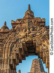 temple, levers de soleil, indonésie, java, borobudur