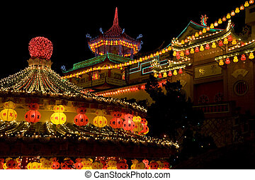 Temple Lighted Up for Chinese New Year - Image of the...