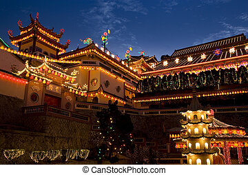 Temple Lighted Up for Chinese New Year - Image of the ...