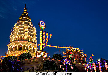 Temple Lighted Up for Chinese New Year