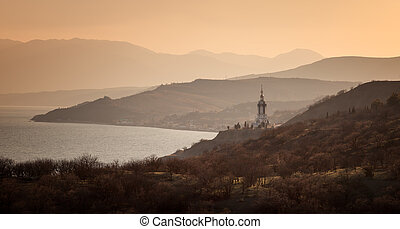 Temple- lighthouse on the seashore