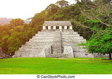 temple, mexique, palenque, inscriptions, chiapas