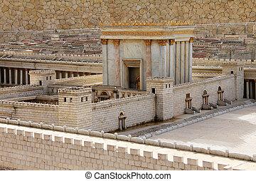 temple., model, jerusalem., oud, tweede