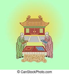 temple, moines, bouddhiste