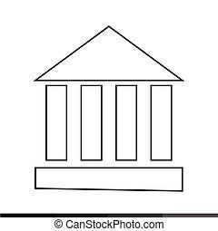 temple, monument, conception, illustration, colonne, icône