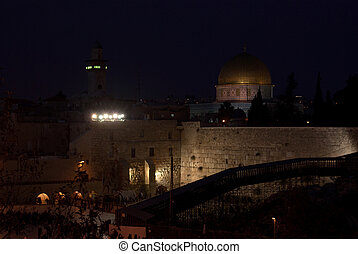 Temple mount at night in Jerusalem, Israel