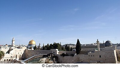 Temple mount view in Jerusalem old city, Israel