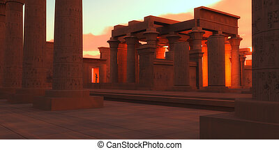 Light glows from the inner rooms of an Egyptian temple with a statue of a pharaoh.