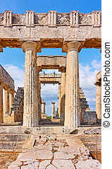 Temple of Aphaea in Aegina Island - Front of Temple of ...