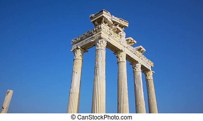 Temple of Apollo ruins' columns in Side - View on white...