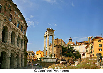 Temple of Apollo Sosiano - Ruins by Teatro di Marcello, Rome - Italy 3