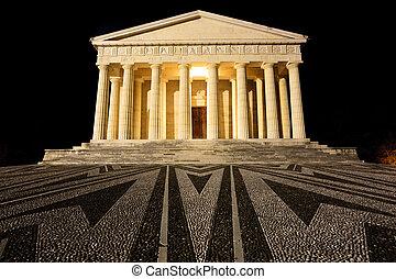 Temple of Canova night view. Roman columns