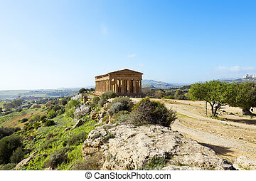 Temple of Concordia. Valley of the Temples in Agrigento on...
