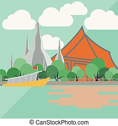 Temple of dawn, thailand with flat design