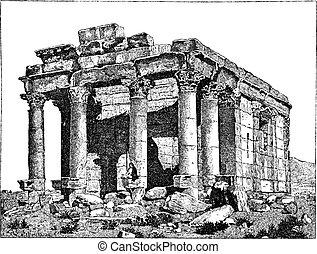 Temple of Diocletian, Palmyra, Syria, vintage engraving. -...