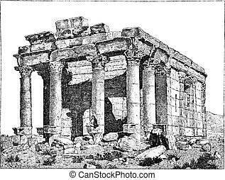 Temple of Diocletian, Palmyra, Syria, vintage engraving.