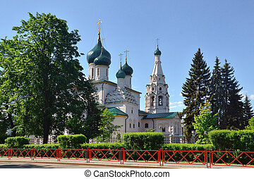 Temple of Elijah the Prophet in Yaroslavl. Gold ring of Russia