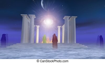 Temple of fire in spiritually based composition. Eye of God...
