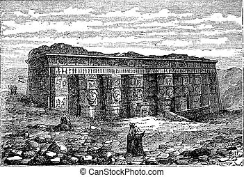 Temple of Hathor in Dendera, Egypt, vintage engraving