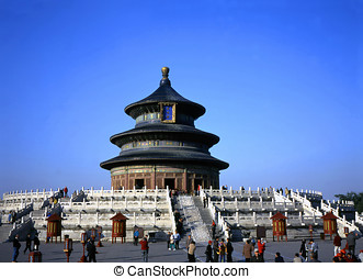 Temple of Heaven in Beijing,China against clear blue sky