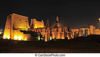 Temple of Luxor, Egypt at Night - Illuminated Luxor Temple....
