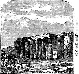 Temple of Luxor (or Quorenth) ruins, in Thebes, Egypt. Vintage engraving.
