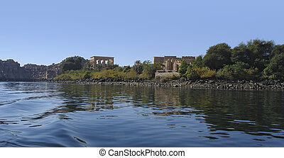 Temple of Philae in Egypt - panoramic view including the...
