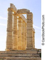 Temple of Poseidon at Cape Sounion near Athens, Greece. c...