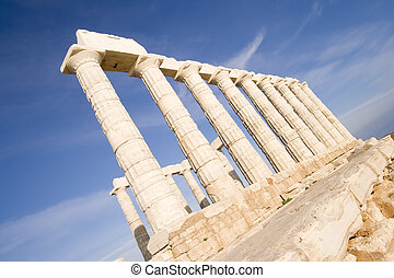 Temple of Poseidon at Cape Sounion near Athens, Greece. c ...