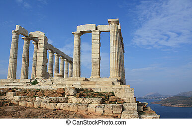 Temple of Poseidon near Athens, Greece - Remains of Temple ...
