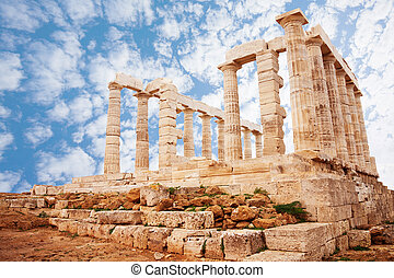 Temple of Poseidon on cape Sounion view - View of Temple of...