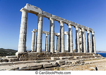 Temple of Poseidon - The Ancient Greek temple of Poseidon at...