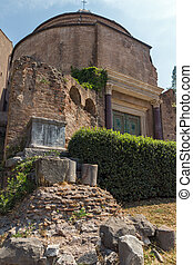 Temple Of Romulus in Roman Forum in city of Rome, Italy