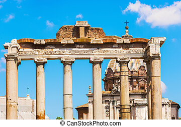 Temple of Saturn in Rome, Italy.